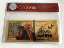 Trump Train .. 2020 Dollar Bill.. 24K Gold 3D Overlay... With COA