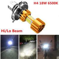 H4 18W LED 3 COB Motocicleta faro Bombilla 2000LM 6000K Hi / Lo Haz luz blanco