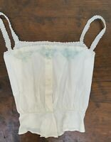Antique Vintage French Linen Cotton Silk Embroidered Camisole Top S *LAST FEW*