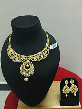 Indian Bollywood Bridal CZ Gold Plated Pearl Fashion Jewelry Necklace Set