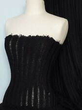 Black cable sweater knit polyester soft fabric tubular width Q952 BK