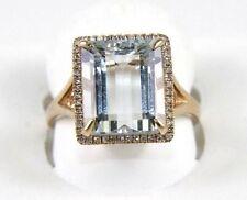 Huge Radiant Aquamarine Lady's Ring w/Diamond Halo 14k Rose Gold 5.55Ct