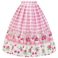 Hell Bunny Strawberry Shortcake Retro Vintage 1950s Pink Gingham Heart Skirt