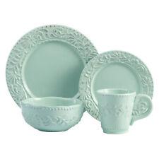 American Atelier 14-Piece Bianca Leaf Dinnerware Set - Blue Mist