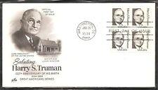 US SC # 1862 Harry S Truman FDC. BLK4. Artcraft Cachet