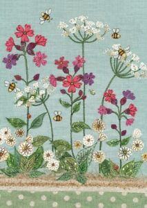 Bug Art Campion Bee Wild flower Embossed, Sewn/Fabric Effect Blank Greeting Card