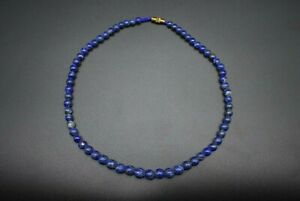 Egyptian lapis lazuli carved bead necklace