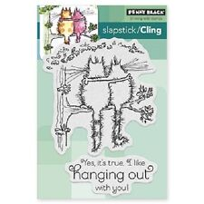 PENNY BLACK RUBBER STAMPS SLAPSTICK CLING HANGING OUT NEW cling STAMP