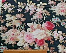 "Lovely French Rose Scenic Victorian c1880 Cotton Fabric~L-28"" X W-26.5"""