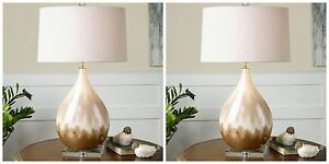 TWO METALLIC RUST BEIGE GLAZE TABLE LAMP LINEN SHADE CRYSTAL ACCENTS LIGHT