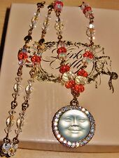 """KIRKS FOLLY **AMAZING** SEAVIEW MOON 3D CARVED CRYSTAL PENDANT 26"""" NECKLACE  QVC"""