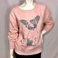 Womens Sweater Large Bulldog critter novelty Love by Design