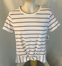M Fasis Womens White Red Striped Front Twist Ribbed Top Short Sleeve Size XL
