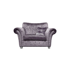 FRANCO Heather Crushed Velvet Cuddle Chair Loveseat CLEARANCE C219