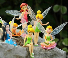 6Pcs Tinkerbell Fairies Figures Tinker Bell Cake Toppers Kids Dolls Toys Girls