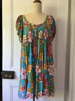 Nigella size 14 /L Blue multicolour floral print Cotton Trapeze dress cap sleeve