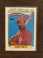 1989 Topps OZZIE SMITH Baseball Card #389 St.Louis Cardinals All Star National