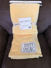 "NWT RAE DUNN Yellow ""Happy Spring"" Soft Throw Blanket 50"" x 60"""