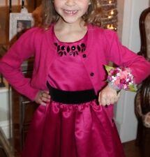 Euc Gymboree Pink Fushia Holiday Dress Matching Sweater Girl Sz 5/6