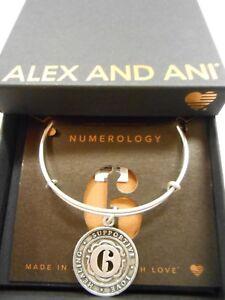 Alex and Ani Numerology Number 6 Expandable Bracelet Rafaelian Silver NWTBC