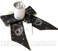 DIOR black CAPRICORN Capricorne MITZAH ZODIAC silk scarf NWT in BOX Authent $200