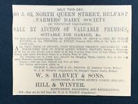1926 Newspaper Clipping PREMISES FOR SALE, FARMERS' DAIRY SOCIETY, BELFAST