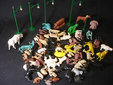 Old Vtg Collectible Plastic Train Garden Animals Light Post LOT Accessories Toy