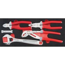 Sidchrome 4 Piece Plier and Adjustable Wrench Custom Kit Set