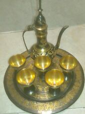 Vintage Brass Miniature Tea Pitcher , 5 Goblets  and Tray
