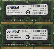 Crucial Ram Memoria 8gb kit DDR3 PC3-12800, 1600MHz para 2012 Apple Macbook Pro
