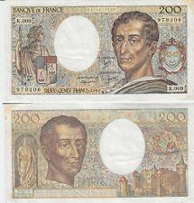 Gertbrolen  200 Francs MONTESQUIEU  Année 1982  R .009 Billet numéro 0174979306