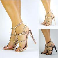 New Womens Stud Strappy Heel Rose Gold Black Nude Heels UK Sizes 3 4 5 6 7 8
