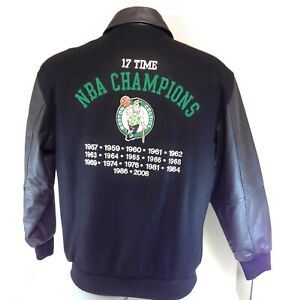 Mens G-III Boston Celtics 17X NBA Champions Black Wool Leather Jacket Coat NWOT