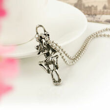 Retro Silver Gothic Punk Skull  Lover Pendant Necklace Choker Collar Lover Gifts