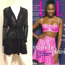 RARE Vintage Azzedine Alaia 1996 Black Beaded Knit Top & Skirt Ensemble S