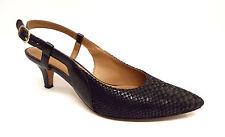 CLARKS Artisan Size 7.5 Black Snake Print Slingback Heels Pumps Shoes 7 1/2