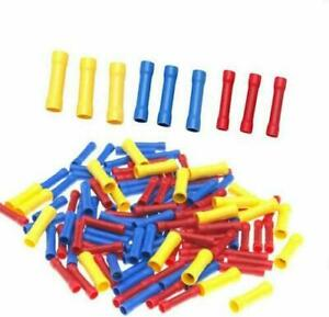 Insulated Straight Through Crimp Butt Splice Red/Blue/Yellow 0.5mm - 6.0mm Cable
