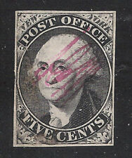 U.S. Scott 9X1 Postmaster Provisional, New York, ACM initialed in magenta ink.