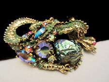 "Coveted Rare 3"" Signed HAR Goldtone Green Enamel Jeweled Dragon Brooch Pin A56"