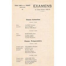 Béziers Hérault École Libre de la Trinité PRIX EXAMEN 1929-1930 Jusqu'en Seconde