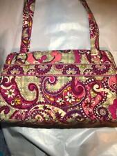 Vera Bradley Lizzy Paisley Meets Plaid Large Handbag Purse Pink Purple Grey