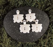 Zen Canyon Large White Turtle Shaped Fish 2-Hole Carved Yak Bone Buttons 4 Pack