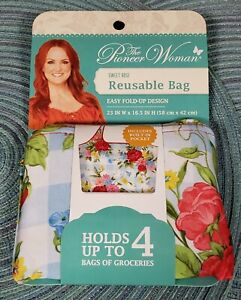 THE PIONEER WOMAN SWEET ROSE REUSABLE BAG NEW Easy Fold Up Design