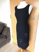 Ladies MONSOON Dress Size 14 Black Beaded Smart Party Evening Floral