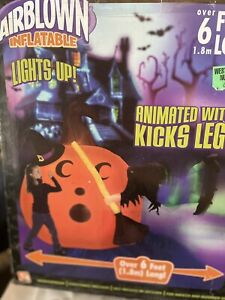 NEW ANIMATED Gemmy  Halloween Airblown Inflatable  Kicking Witch In Pumpkin 2006