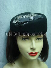black wool felt pill box  vintage style hat womens one size fits all