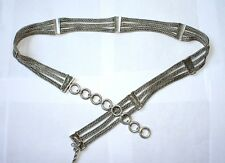 "Sterling Silver .925 Signed LOIS HILL 33-36"" Weave Braid  Fashion Belt 390.3g"