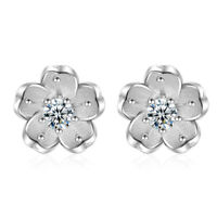 Hot Elegant 925 Sterling Silver Natural Crystal Cherry Blossoms Stud Earrings