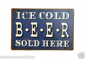 VINTAGE REPRODUCTION TIN SIGN: ICE COLD BEER SOLD HERE 30cm x 20cm LAST ONE!