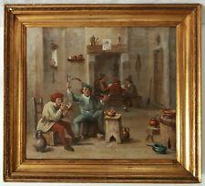 Tableau ancien huile sur toile Ecole flamande XVIIIème XIXème scène de taverne